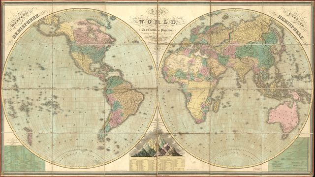 The world, on a globular projection, exhibiting the geographical researches of modern travellers & navigators /