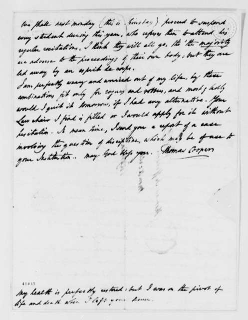 Thomas Cooper to Thomas Jefferson, May 18, 1826
