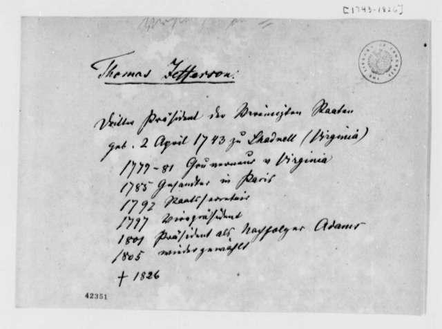 Thomas Jefferson, 1826, Biographical Data, in German