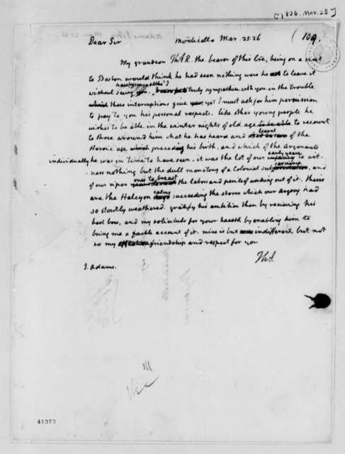 Thomas Jefferson to John Adams, March 25, 1826
