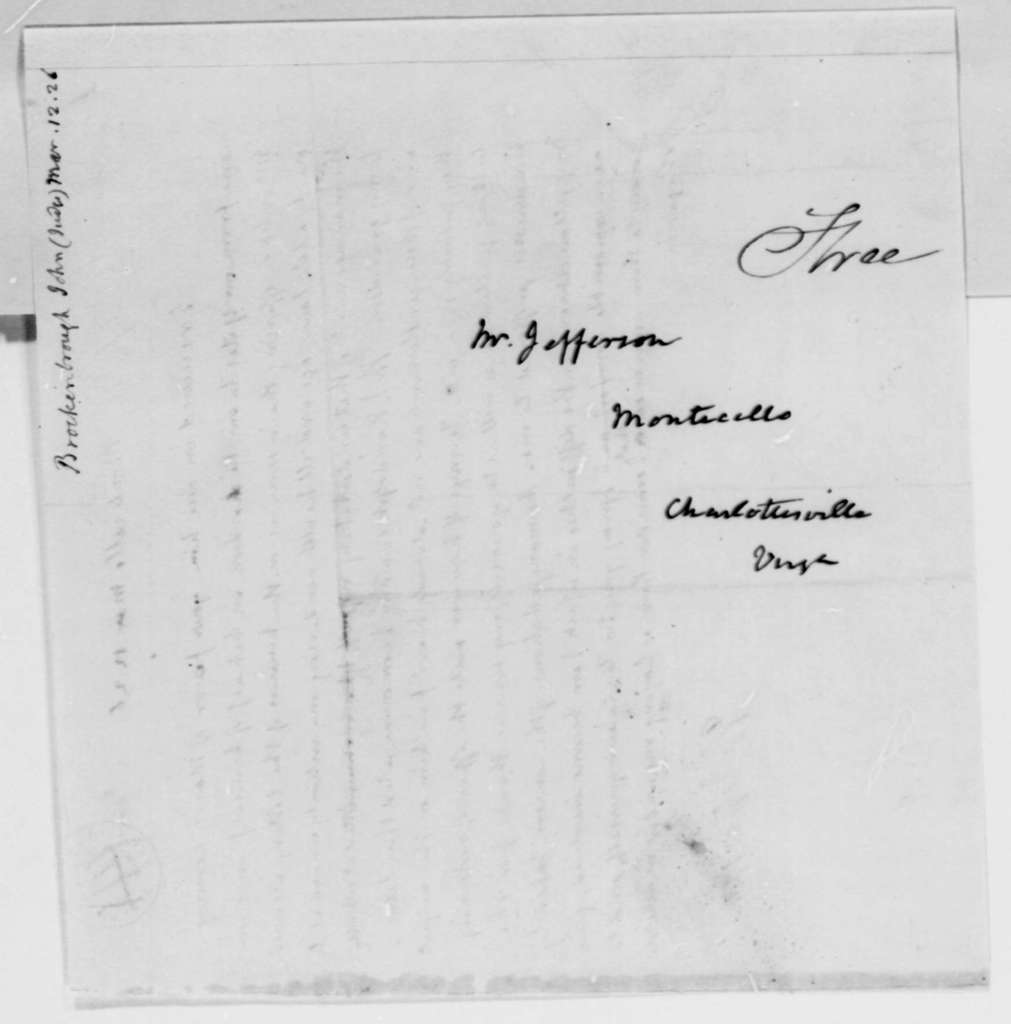 Thomas Jefferson to John Brockenbrough, March 13, 1826