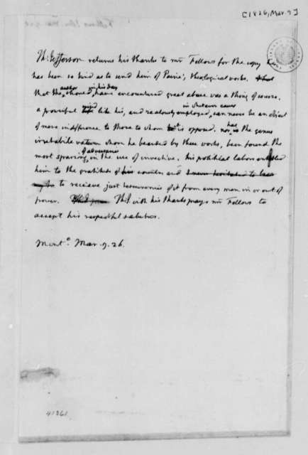 Thomas Jefferson to John Fellows, March 9, 1826