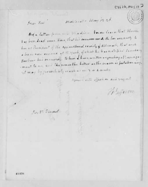 Thomas Jefferson to John Patten Emmet, May 12, 1826