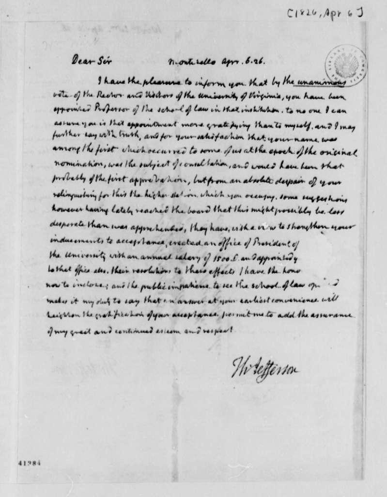 Thomas Jefferson to William Wirt, April 6, 1826, with Draft Copy