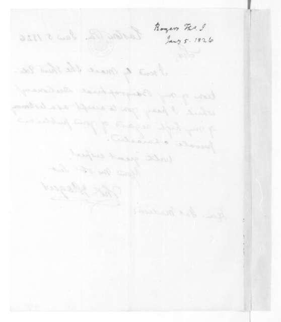 Thomas Rogers to James Madison, January 5, 1826.