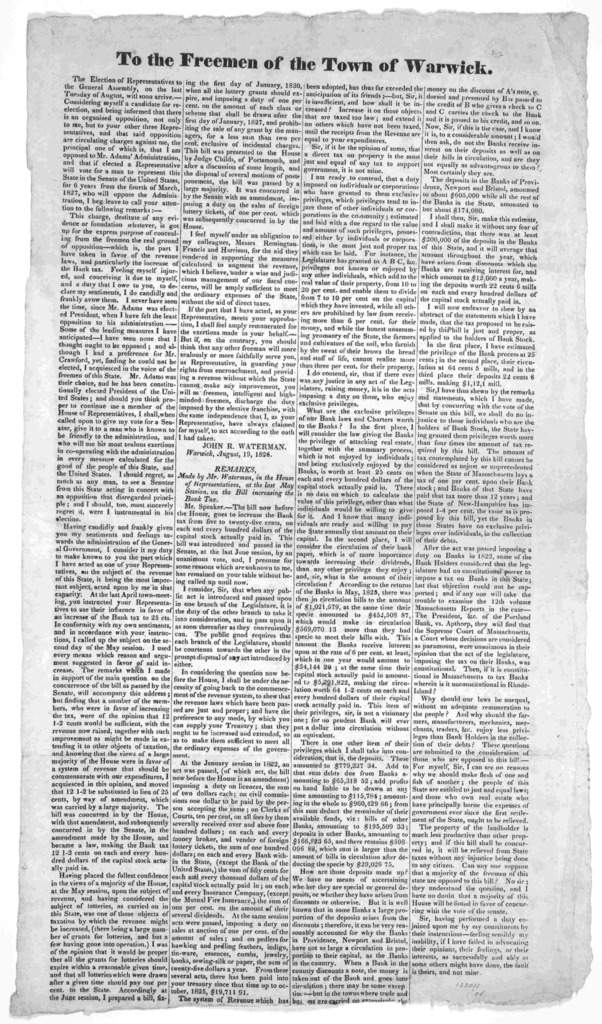 To the freemen of the Town of Warwick. The election of representatives in the General Assembly, in the last Tuesday of August will soon arrive ... John R. Waterman. Warwick August 19. 1826.