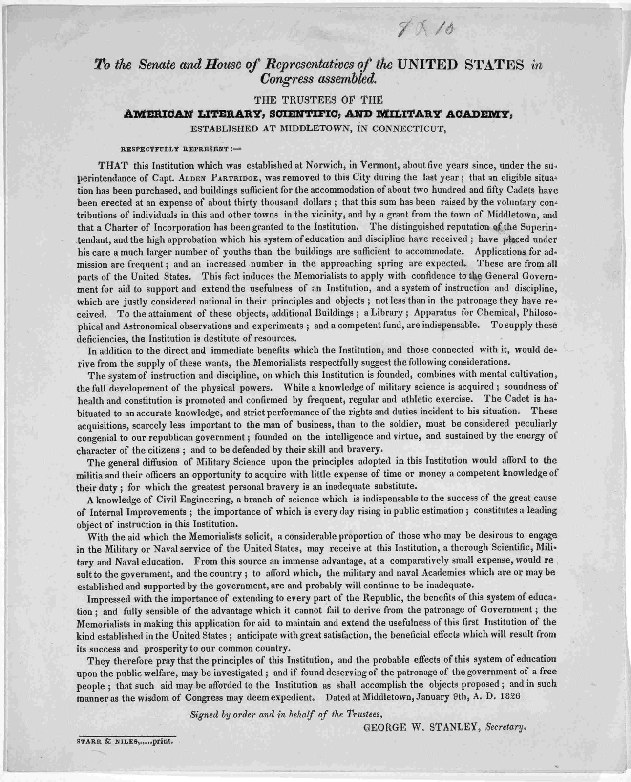 To the Senate and House of Representatives of the United States in Congress assembled. The trustees of the American literary, scientific and military academy established at Middletown, in Connecticut respectfully represent ... Signed by order an