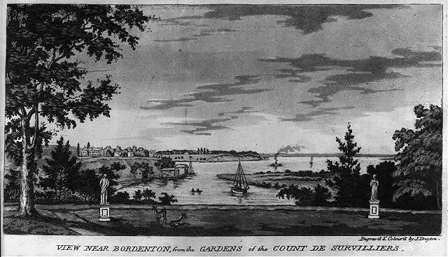 View near Bordenton, from the gardens of the Count De Survilliers / engrav'd & colour'd by J. Drayton.