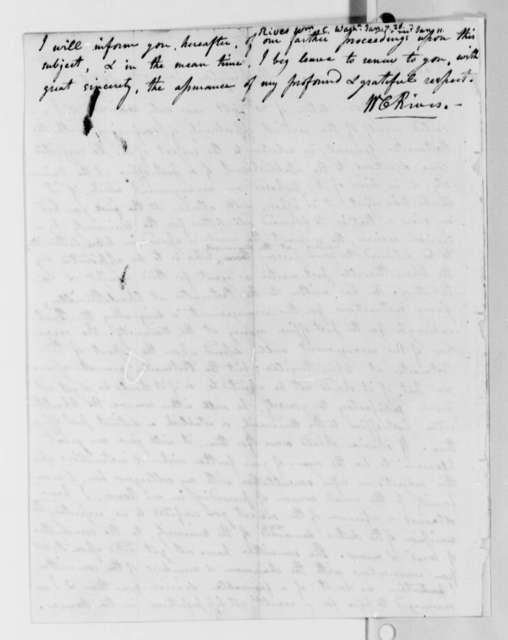William Cabell Rives to Thomas Jefferson, January 7, 1826