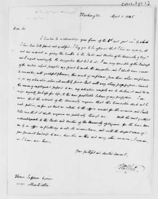 William Wirt to Thomas Jefferson, April 8, 1826