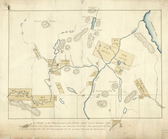"A sketch of the northern part of the ""Million Acres"" on the Kennebec River with certain timber lots laid down theron, and coloured, which have been applied for : the number of acres in each lot has not been measur'd, but the quantity estimated by appraisers."