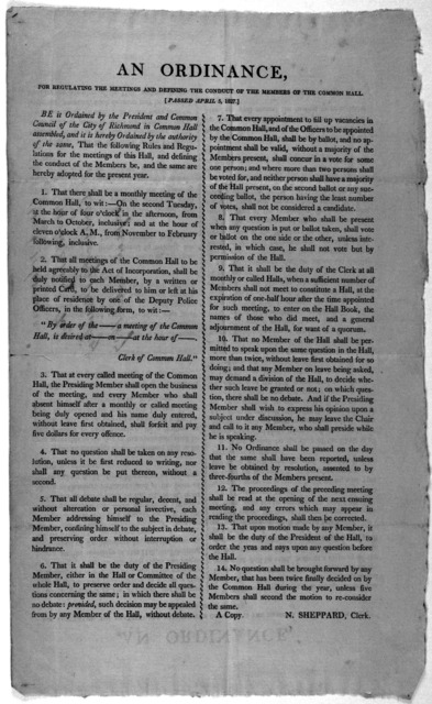 An ordinance, for regulating the meetings and defining the conduct of the members of the common hall passed April 5, 1827, [Richmond, 1827].