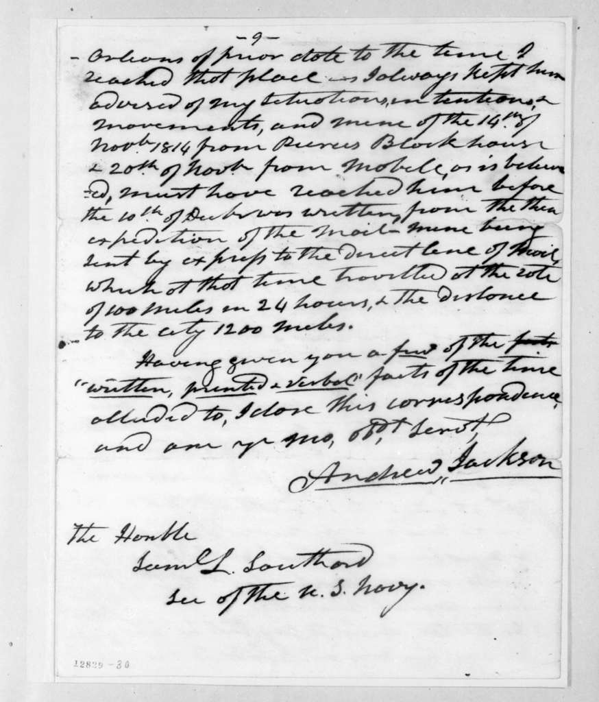 Andrew Jackson to Samuel Lewis Southard, March 6, 1827