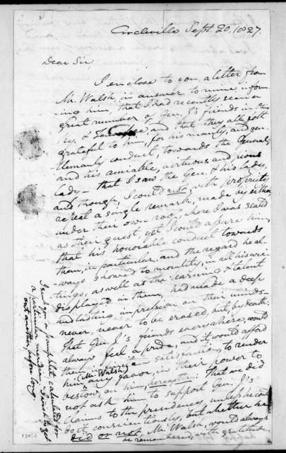 Caleb Atwater to Andrew Jackson, September 20, 1827