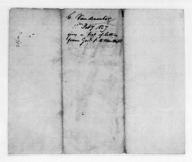 Christopher Vandeventer to Samuel Houston, February 1, 1827