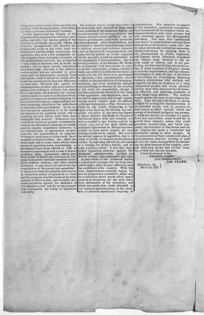 Circular. To the people of Fayette, Woodford and Clark Counties. Fellow Citizens. the nineteenth Congress having closed its second session, and the term for which I was elected having expired, I feel it my duty ... to give a brief detail of its