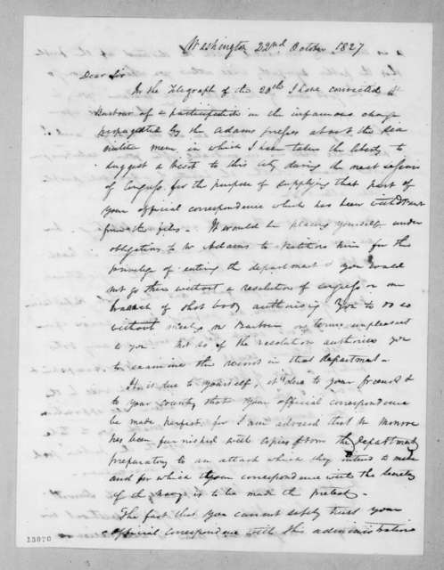 Duff Green to Andrew Jackson, October 22, 1827