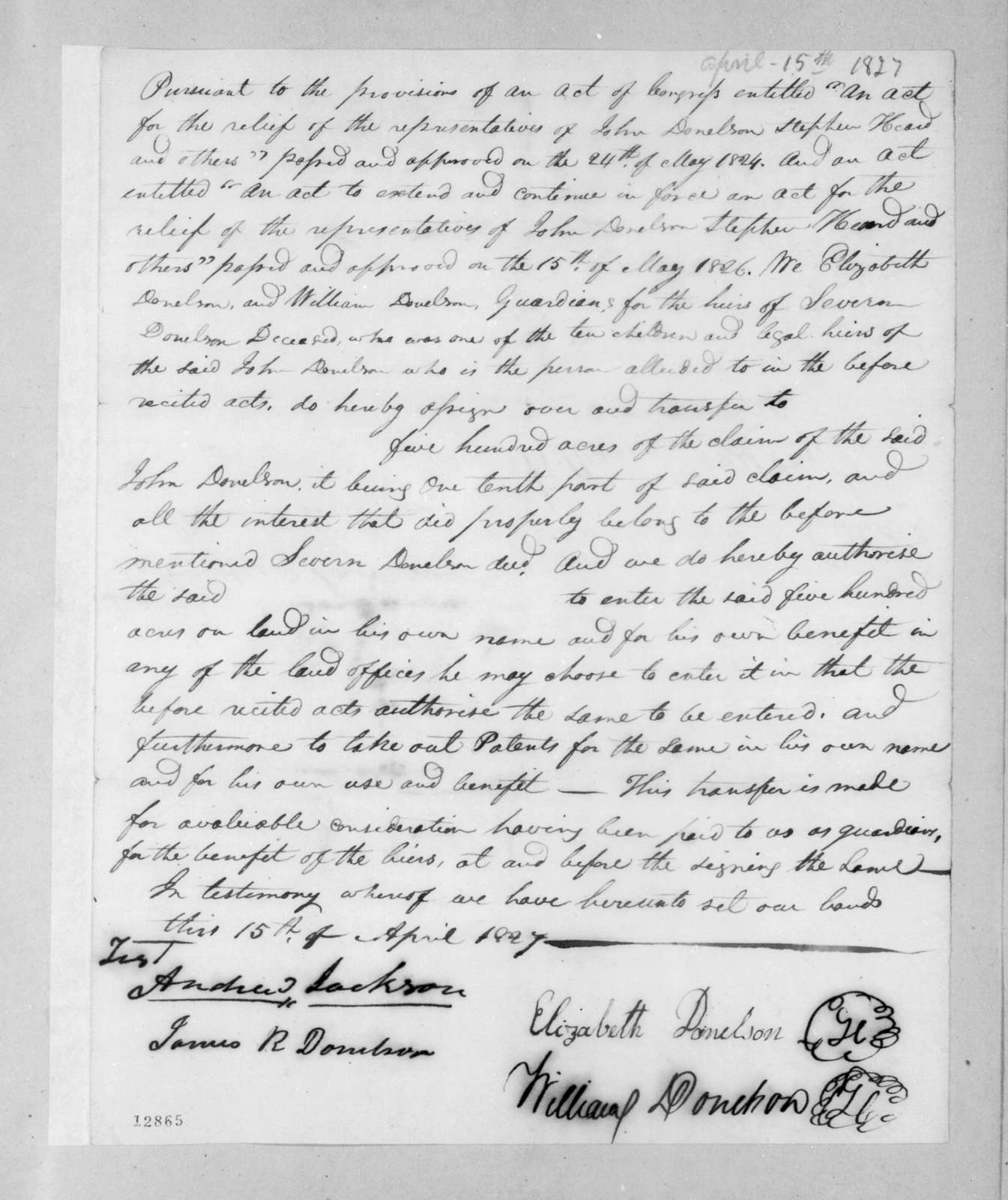 Elizabeth Donelson to William Donelson, April 15, 1827