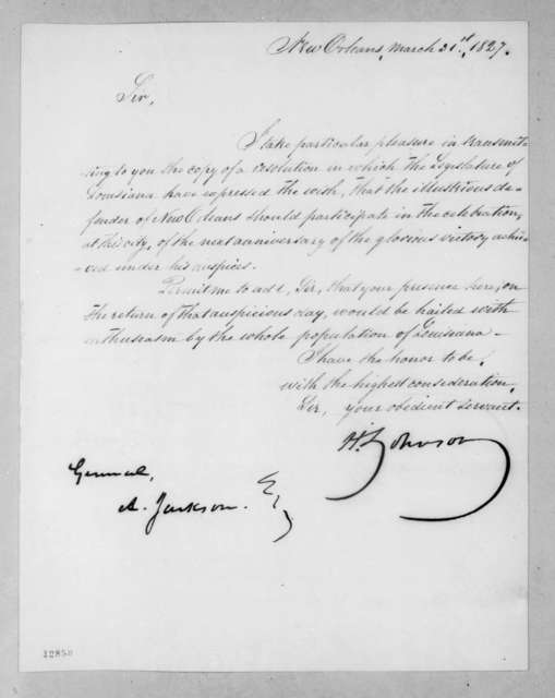 Henry Johnson to Andrew Jackson, March 31, 1827