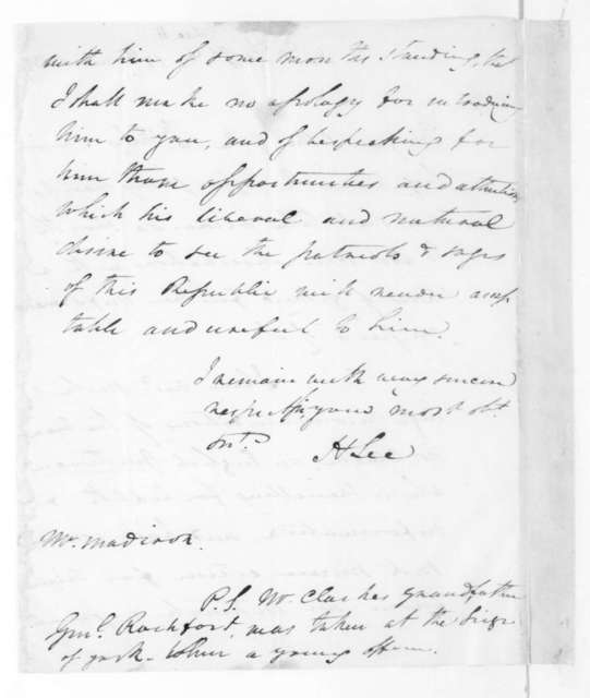 Henry Lee to James Madison, March 12, 1827.