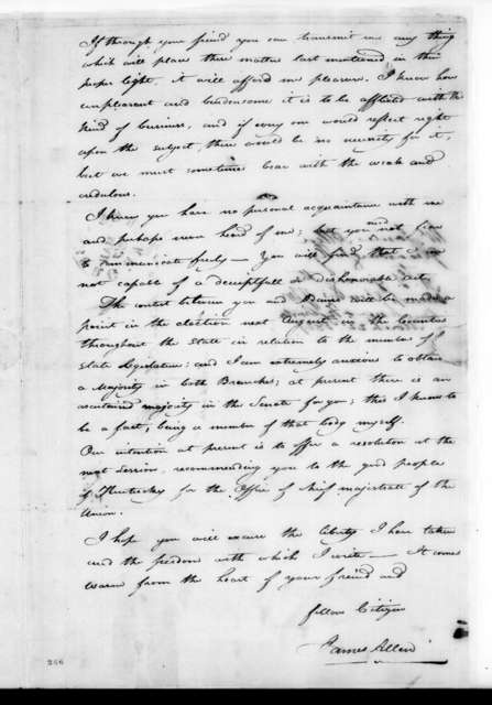 James Allen to Andrew Jackson, March 22, 1827