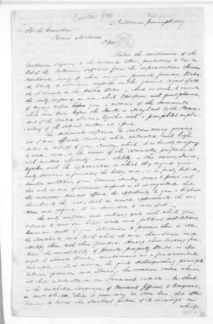James H. Causten to James Madison, January 1, 1827.