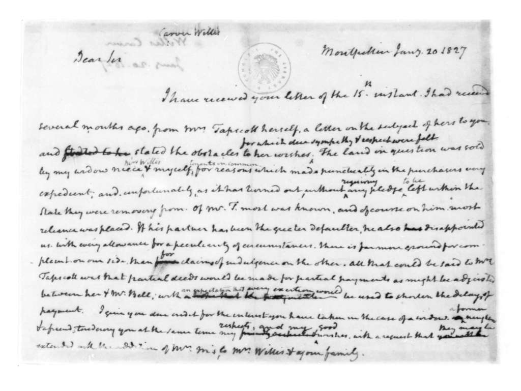James Madison to Carver Willis, January 20, 1827.