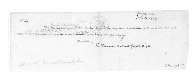 James Madison to Jacob Engelbrecht, July 4, 1827.
