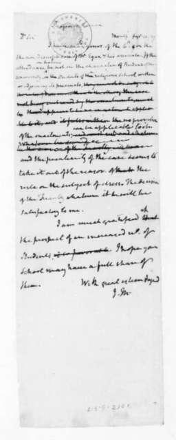 James Madison to Professor Lomax, September 10, 1827.