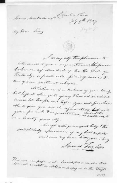 James Taylor to James Madison, July 9, 1827.