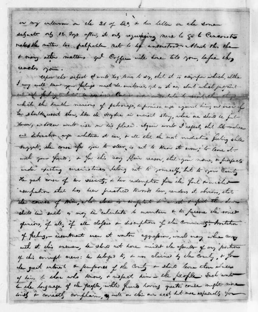 John Henry Eaton to Andrew Jackson, February 4, 1827
