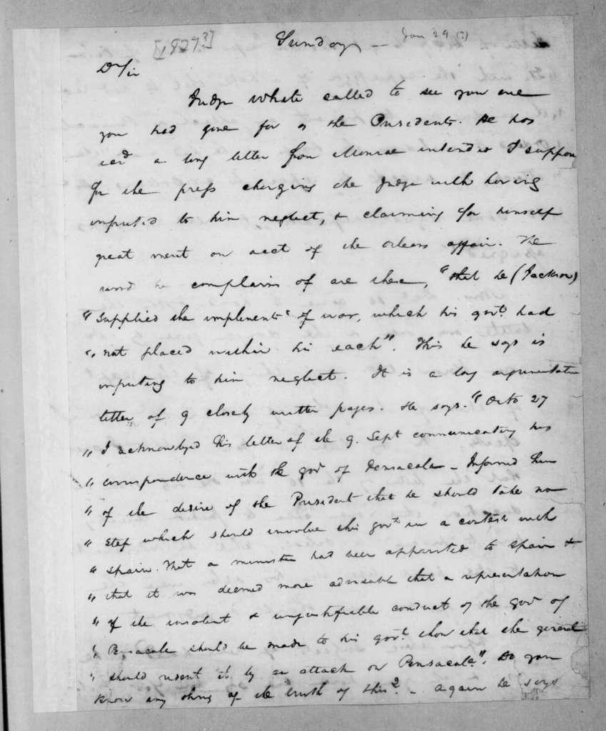 John Henry Eaton to John Coffee, January 29, 1827