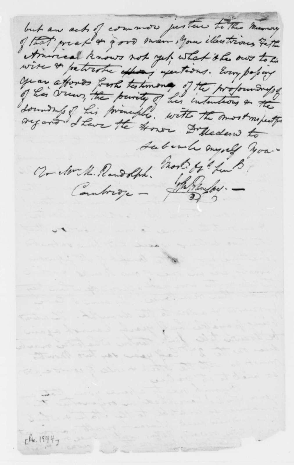 John Ramsay to Martha Randolph, September 29, 1827