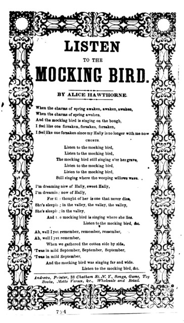 Listen to the mocking bird. By Alice Hawthorne. Andrews, Printer, 38 Chatham Street, N. Y