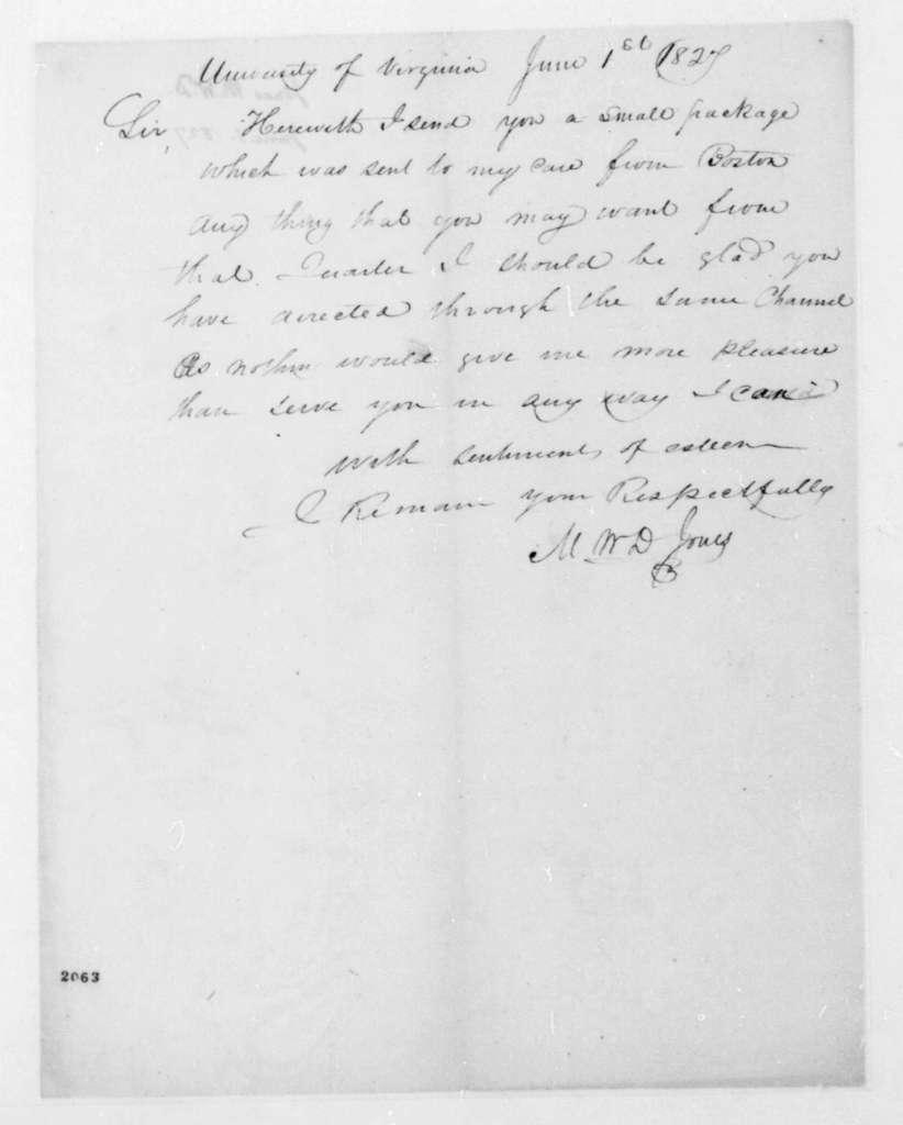 M. W. D. Jones to James Madison, June 1, 1827.