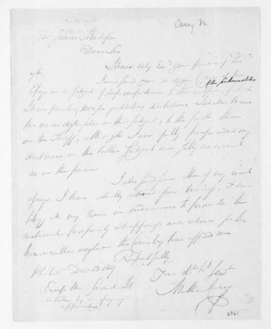 Mathew Carey to James Madison, December 13, 1827.