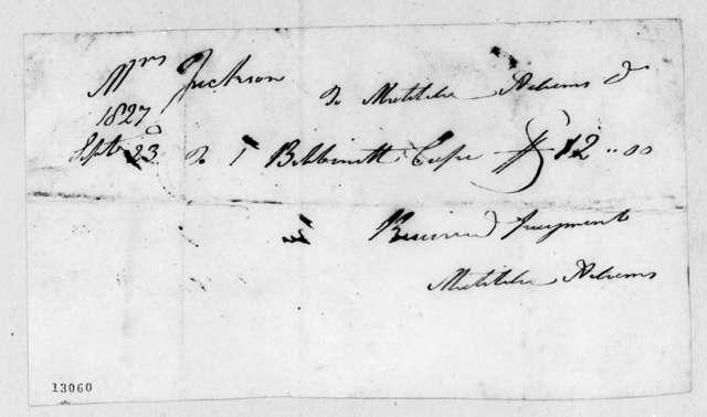 Matilda Adams to Rachel Donelson Jackson, September 23, 1827