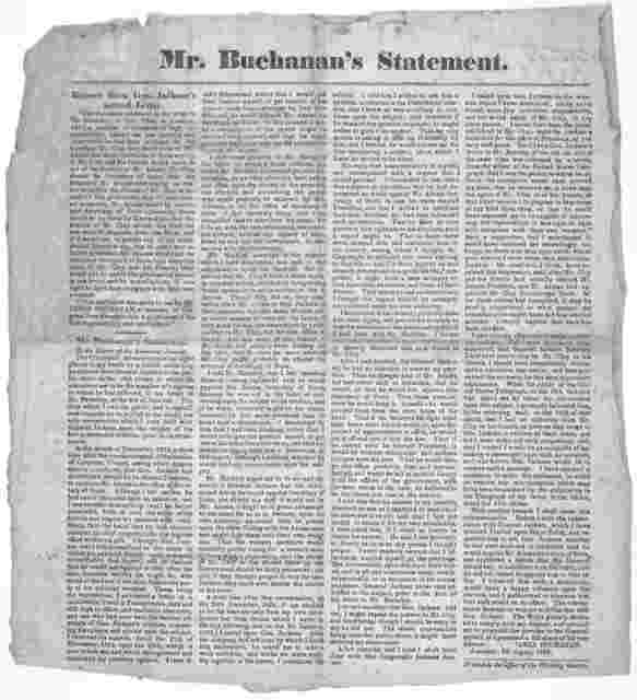 Mr. Buchanan's statement. Extract from Gen. Jackson's second letter ... Mr. Buchanan's statement to the Editor of the Lancaster Journal ... Lancaster, 8th August, 1827. Printed at the Office of the Wheeling Gazette [1827].