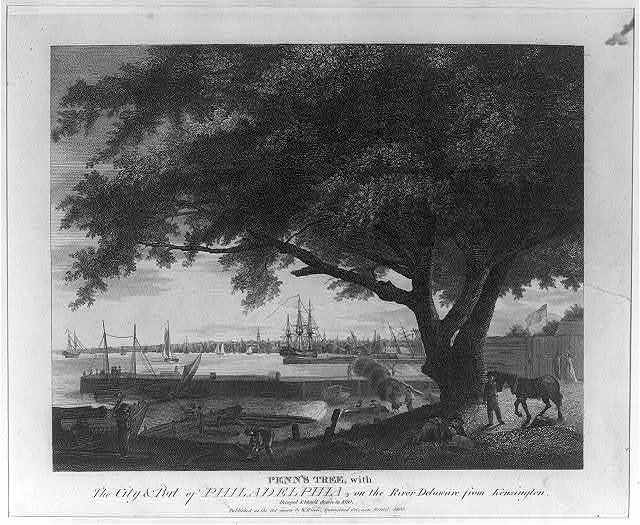 Penn's Tree, with The City & Port of Philadelphia, on the River Delaware from Kensington. Decayed and blow'd down in 1810