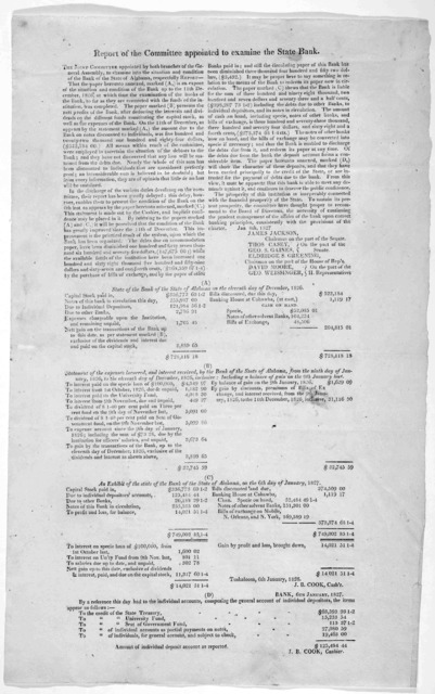Report of the committee appointed to examine the state bank. Jan. 8th, 1827.