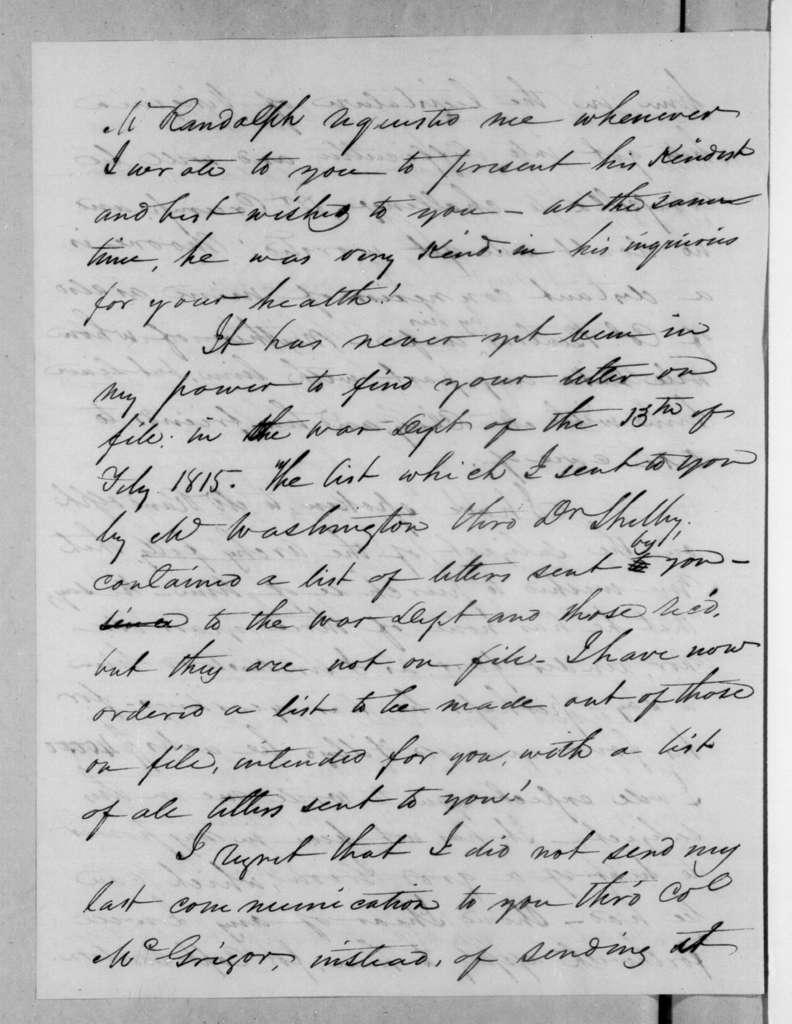 Samuel Houston to Andrew Jackson