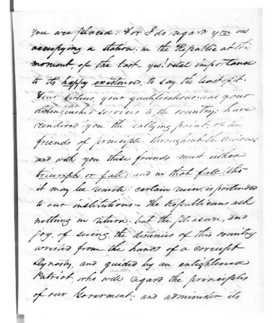 Samuel Houston to Andrew Jackson, January 13, 1827