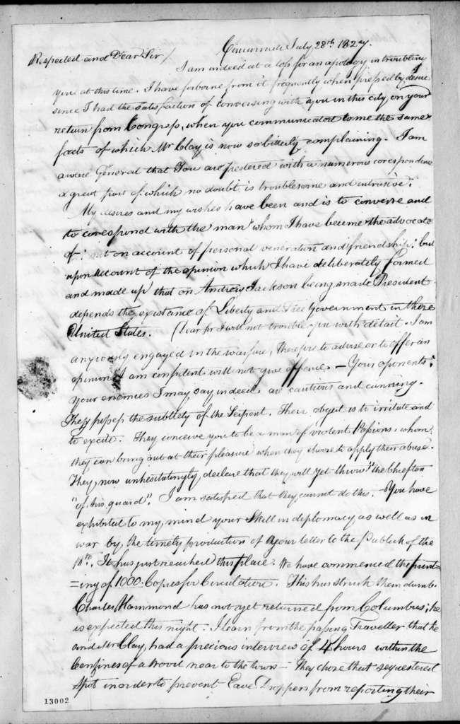 Thomas Henderson to Andrew Jackson, July 28, 1827