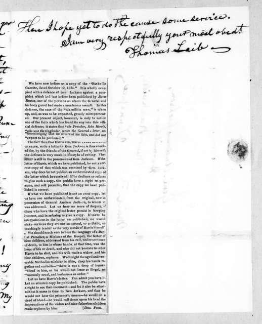 Thomas Leib to Andrew Jackson, August 25, 1827