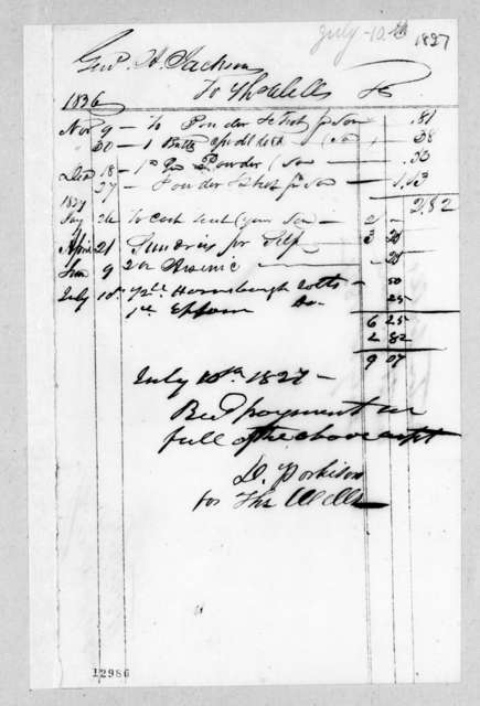 Thomas Wells to Andrew Jackson, July 10, 1827