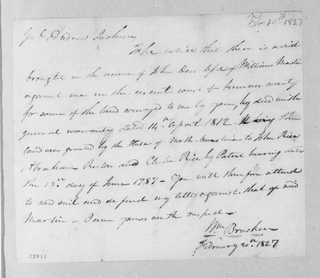 William Bracken to Andrew Jackson, February 20, 1827