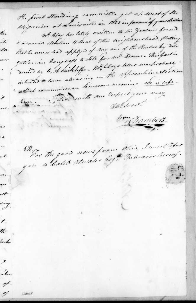 William Chambers to Andrew Jackson, August 5, 1827