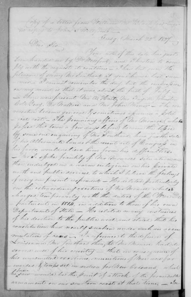 William M. Blackford to John Spotswood Wellford, March 22, 1827