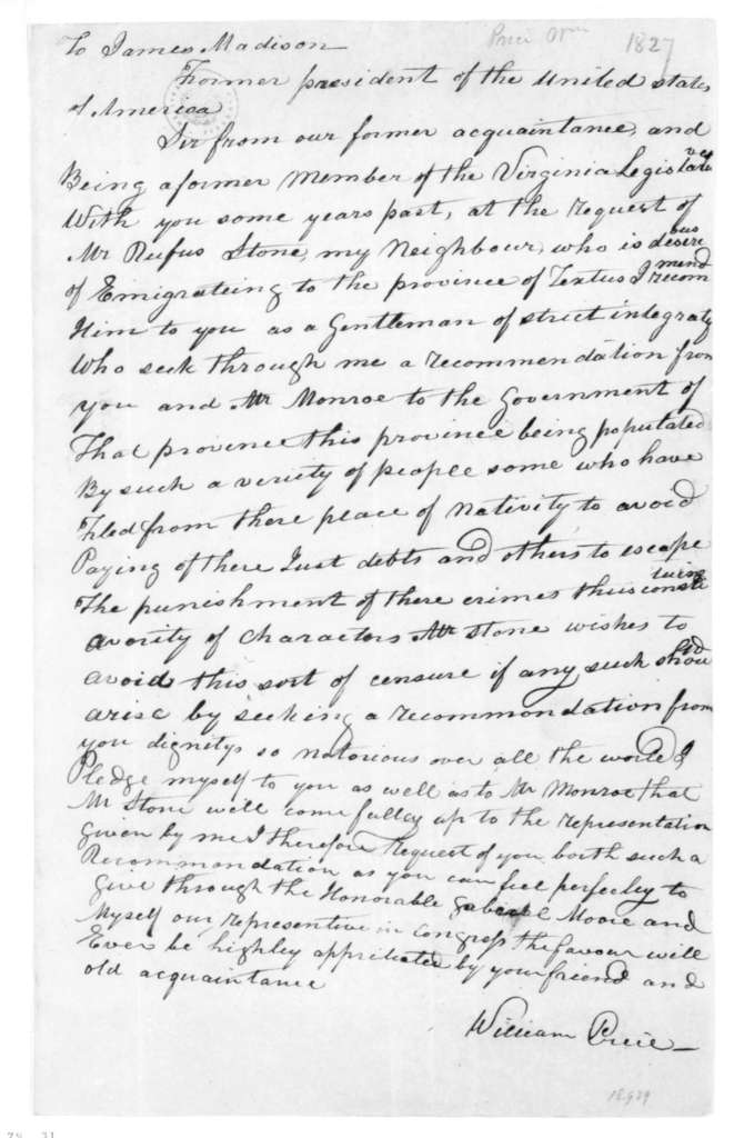 William Price to James Madison. 1827.