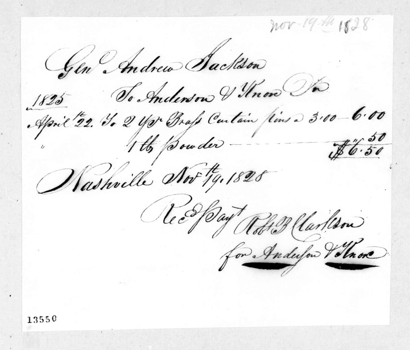 Anderson & Knox to Andrew Jackson, November 19, 1828